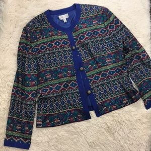 Adrianna Papell Silk Royal Blue and Green Jacket